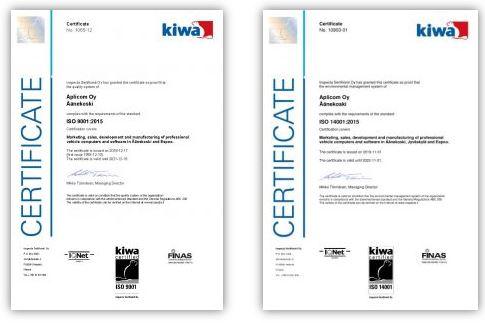Alicom quality certificates ISO 9001 ISO 14001