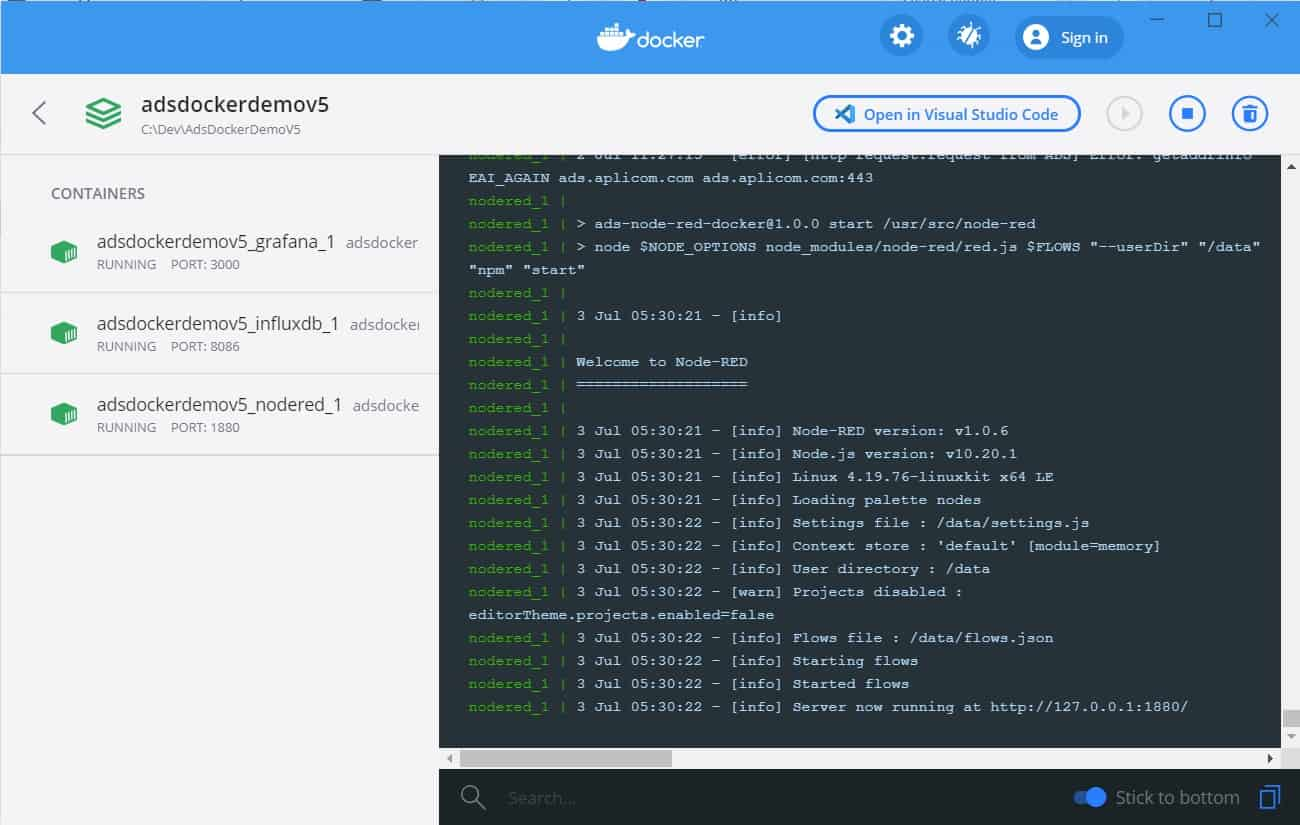ADS Demo running in Docker - Docker Dashboard View
