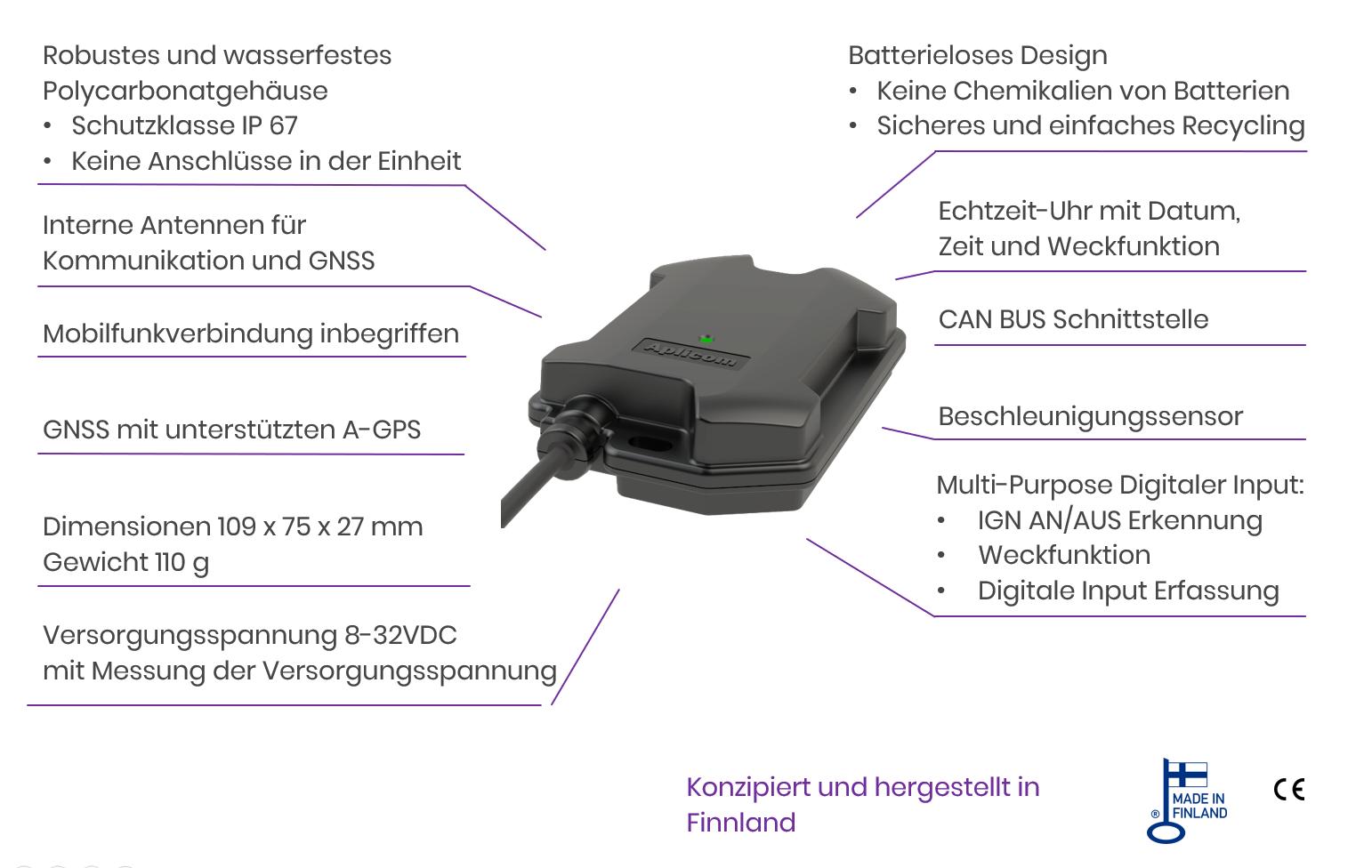 Aplicom T10 telematikgerät mit CAN, technische Daten