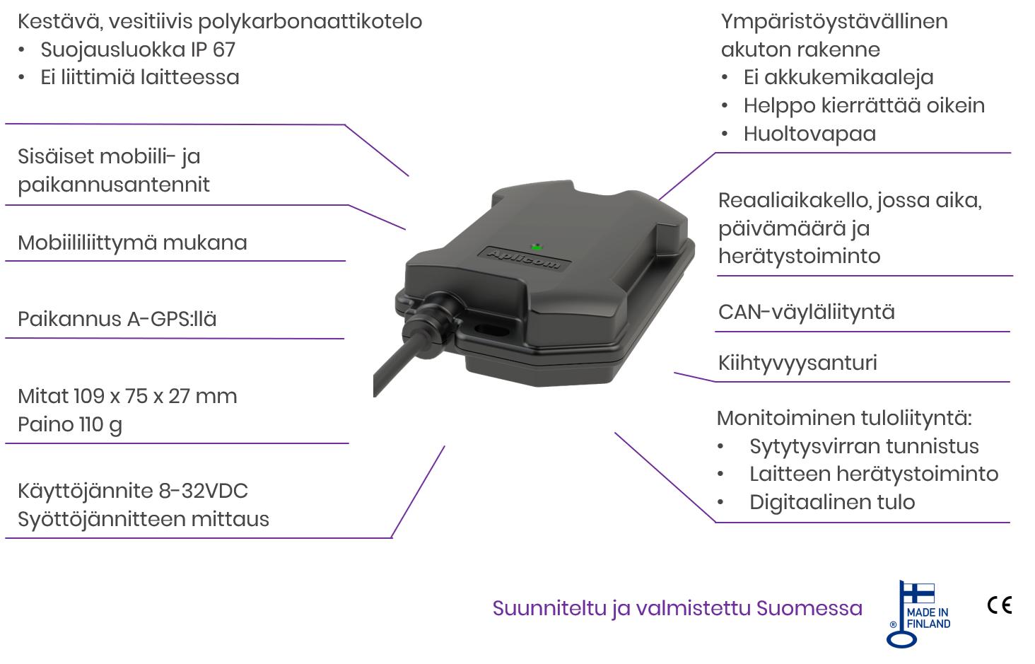 Aplicom T10 telematiikkalaite ja sen tekniset tiedot